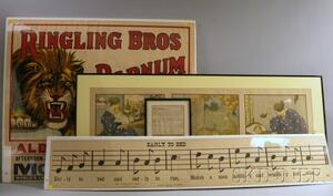 Four Framed and Unframed Lithograph Prints and a Document