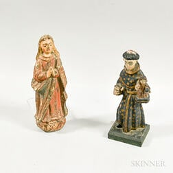 Two Polychrome Carved Wood Santos Figures