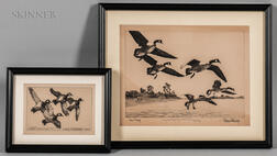 Richard Evett Bishop (American, 1887-1975)      Two Framed Etchings: Geese Pitching