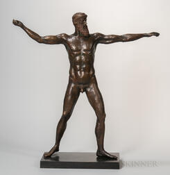 Patinated Bronze Statue of Poseidon/Zeus After the Antique