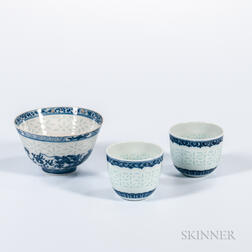 "Three Blue and White Items with ""Rice Grain"" Pattern Bands"