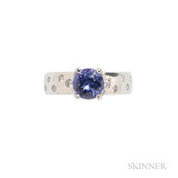 Platinum, Tanzanite, and Diamond Ring