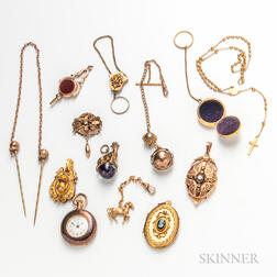 Group of Victorian Gold-filled Watch Fobs and Lockets.     Estimate $300-500
