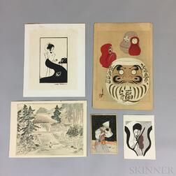 Five Modern Woodblock Prints