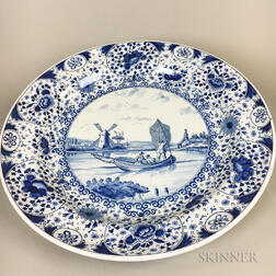 Large Delft Blue and White Ceramic Charger Depicting a Fishing Scene