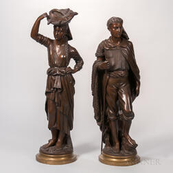 Albert Rolle (French, b. 1816)    Pair of Bronze Figures of a Fisherman and Woman