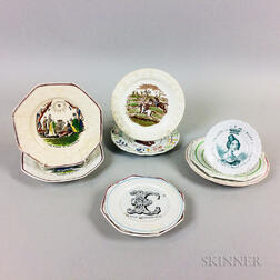 Nine Staffordshire Transfer-decorated Ceramic Plates