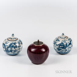 Three Miniature Porcelain Covered Jarlets