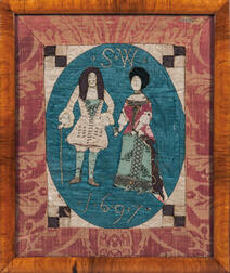 Early Quilt Panel Depicting a Courtier and His Lady