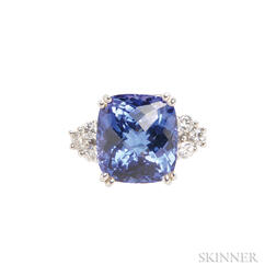 14kt White Gold, Tanzanite, and Diamond Ring