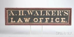 """Painted and Gilt """"A.H. WALKER'S LAW OFFICE"""" Trade Sign"""