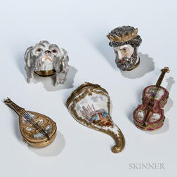 Five Continental Porcelain Boxes