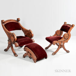 Two Renaissance Revival Walnut Chairs and a Footstool