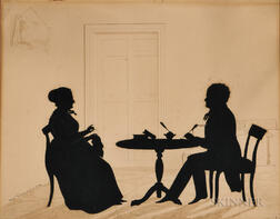 Silhouette Portrait of a Man and Woman Seated at a Table