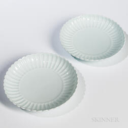 Pair of Clair-de-lune Chrysanthemum Dishes
