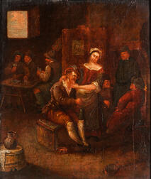Dutch School, 17th Century Style      Tavern Interior with Foreground Couple, Card Players in Back