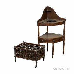 Regency Carved Rosewood Canterbury and a Mahogany Corner Chamberstand