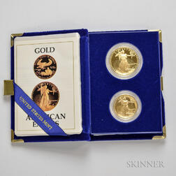 1987 $50 and $25 Proof Gold Eagles.     Estimate $1,500-1,700