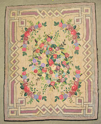 Large Geometric and Floral Hooked Rug