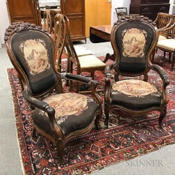 Rococo Revival Carved Walnut Needlepoint-upholstered Armchairs