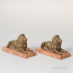 Pair of Bronze and Marble Recumbent Lion Bookends