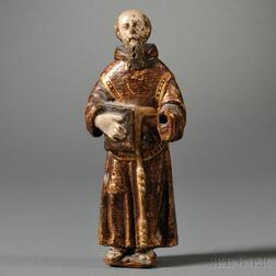 Spanish Colonial Carved, Painted, and Gilded Figure of Saint Dominic