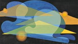 Garabed Der Hohannesian (American, 1908-1992)      Composition in Blue and Yellow