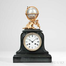 """French Black Slate """"Science or Education"""" Clock"""