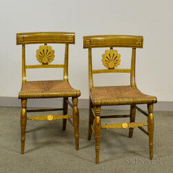 Pair of Grained and Paint-decorated Fancy Chairs