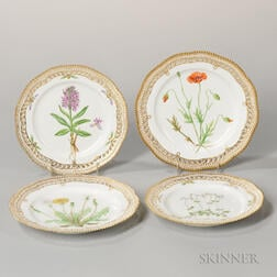 Four Flora Danica and Similar Porcelain Plates