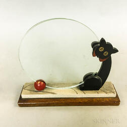Art Deco Painted Wood and Glass Cat and Ball Sculpture