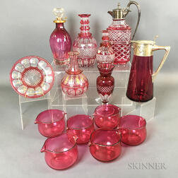 Fourteen Pieces of Cranberry and Cranberry Cut-to-clear Glass.     Estimate $20-200
