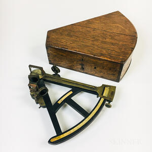 Cased H. Duren and G.W. Blunt Ebony and Brass Sextant