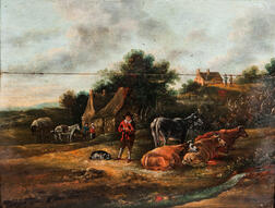 Dutch School, 17th Century      Rural View with Figures, Cottages, and Domestic Animals