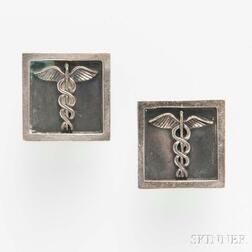 Modern Rotter Sterling Silver Caduceus Cuff Links