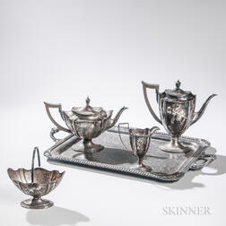 Edward VII Four-piece Sterling Silver Tea and Coffee Service with Associated Silver-plate Tray
