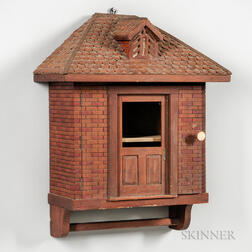 Faux Brick and Shingled Roof House-form Wall Cabinet