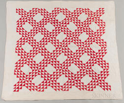 Hand-stitched Red and White Quilt