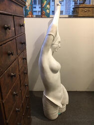 Art Nouveau-style Carrara Marble Partial Model of a Nude Woman