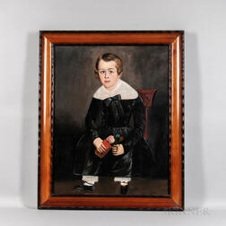 American School, Mid-19th Century      Portrait of a Boy in Black Holding a Flower and a Book