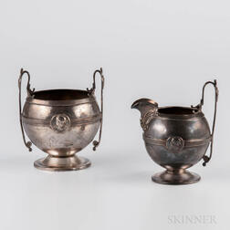 "Gorham ""Medallion"" Pattern Sterling Silver Creamer and Sugar"