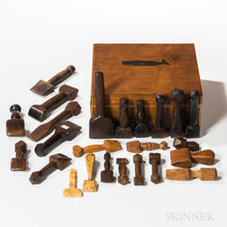 Collection of Twenty-four Seamers Housed in a Paint-decorated Chestnut Box