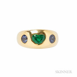 18kt Gold, Emerald, and Sapphire Ring, Bulgari