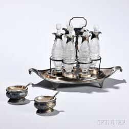 George III Sterling Silver Cruet Stand and Two French .950 Silver Salt Cellars