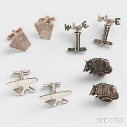 Four Pairs of Sterling Silver Figural Cuff Links