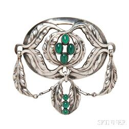 Sterling Silver and Green Agate Brooch, Georg Jensen