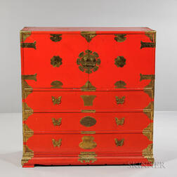 Red Lacquered Wood Chest