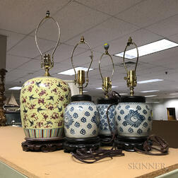 Four Chinese Jars Converted to Lamps