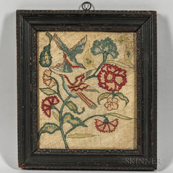 Framed Needlework Picture of Flowers and Birds
