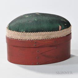 Small Shaker Red-painted Sewing Box with Green Silk Pincushion